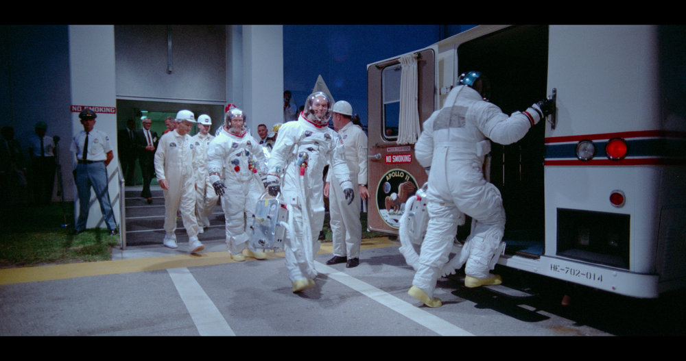 Armstrong, Aldrin and Collins get a lift to their date with destiny in living colour in Apollo 11