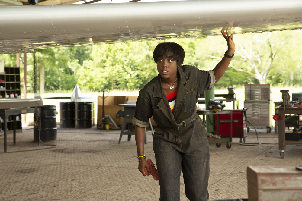 Lashana Lynch as Captain Marvel's pal, USAF pilot Maria Rambeau. Believe it or not, she's flown these things.