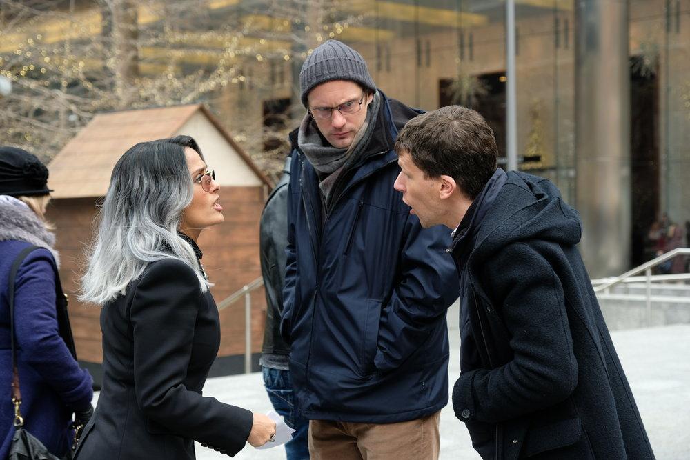 Salma Hayek, Alexander Skarsgård and Jesse Eisenberg in The Hummingbird Project