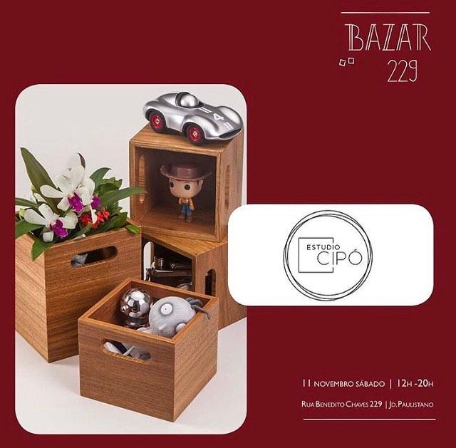 O Estúdio Cipó estará no @bazar229 nesse sábado! Esperamos vocês!