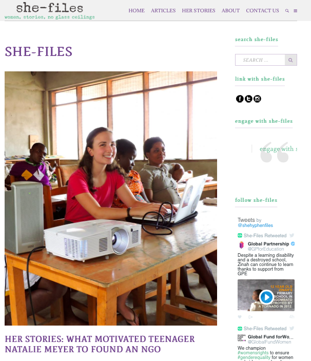 She-Files  -Her Stories: What Motivated Teenager Natalie Meyer To Found An NGO.