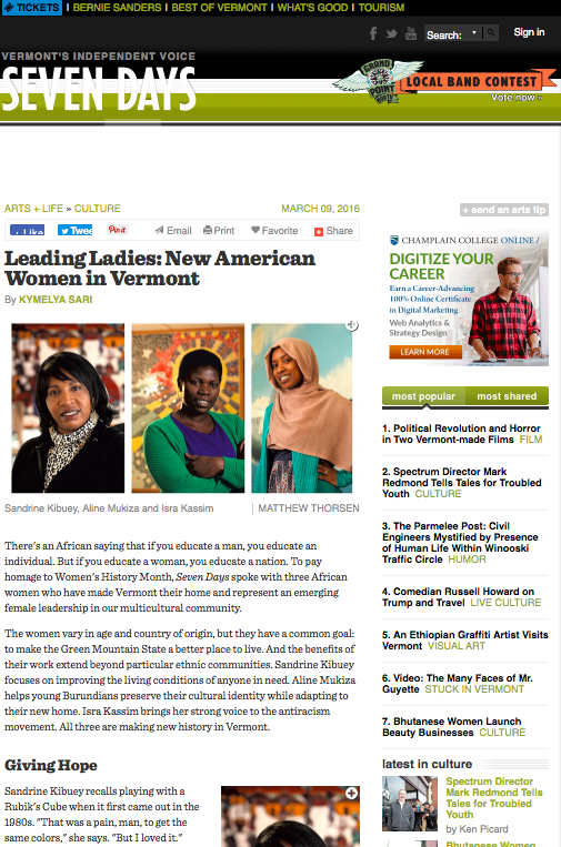 Seven Days  -Leading Ladies: New American Women in Vermont.