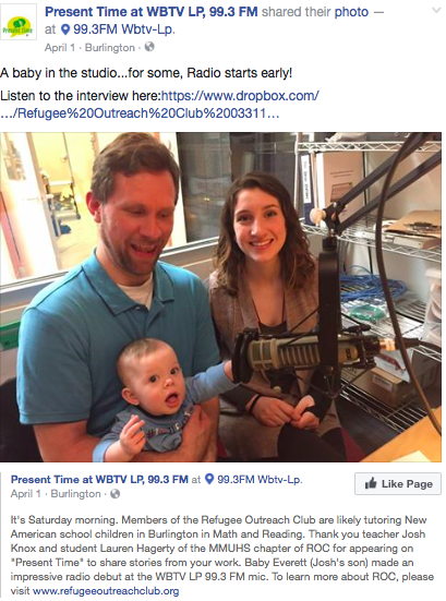 "Present Time at WBTV LP, 99.3 FM  -Teacher Josh Knox and student Lauren Hagerty of the MMUHS appear on ""Present Time"" to share stories and experience of being part of a R.O.C inc. chapter."