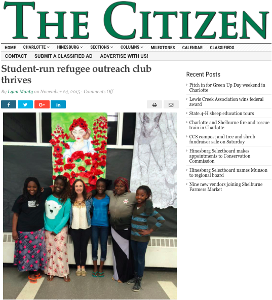 The Citizen  -Student-run refugee outreach club thrives.