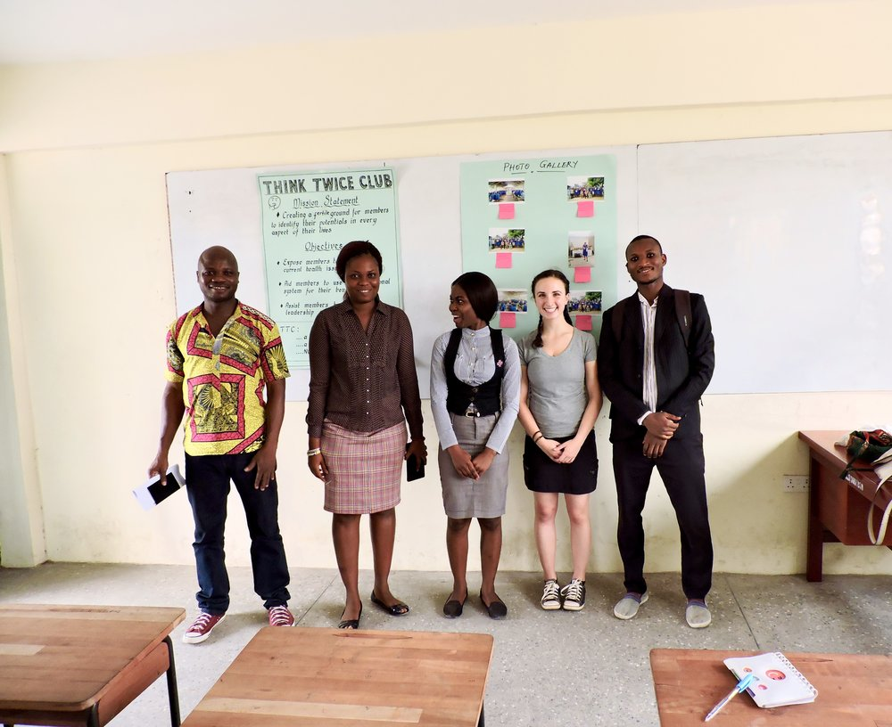 Our team here at the Sokode Senior High School! From left to right: Kofi, Evanam, Sandra, Natalie, and Majid