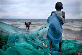 Children working on Lake Volta