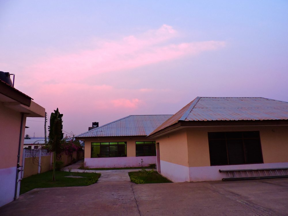 Pink sky over Madam Fo Ghana