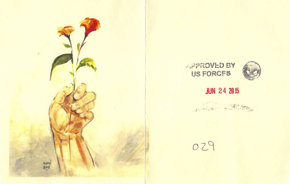 Muhammad Ansi, Hand Holding Red Flowers, 2015 (color photocopy of original and reverse, showing stamps indicating approval for release from Guantánamo).