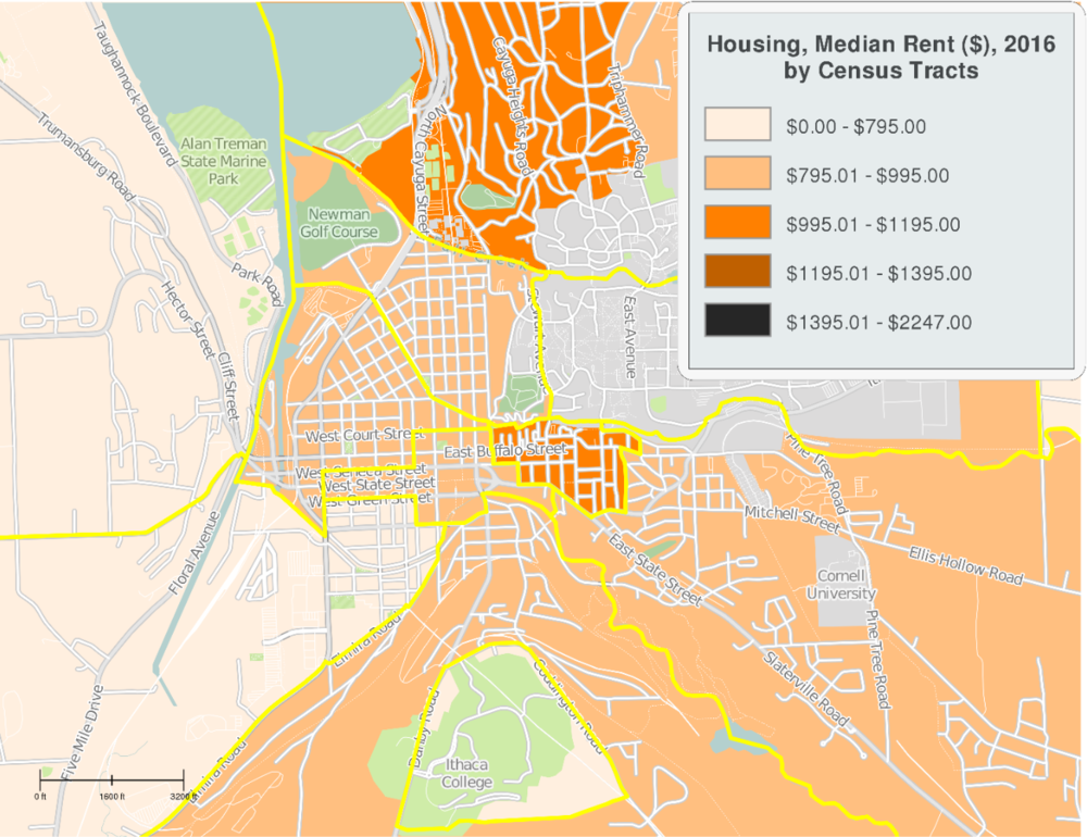 Ithaca Housing Median Rent 2016 Census Tracts