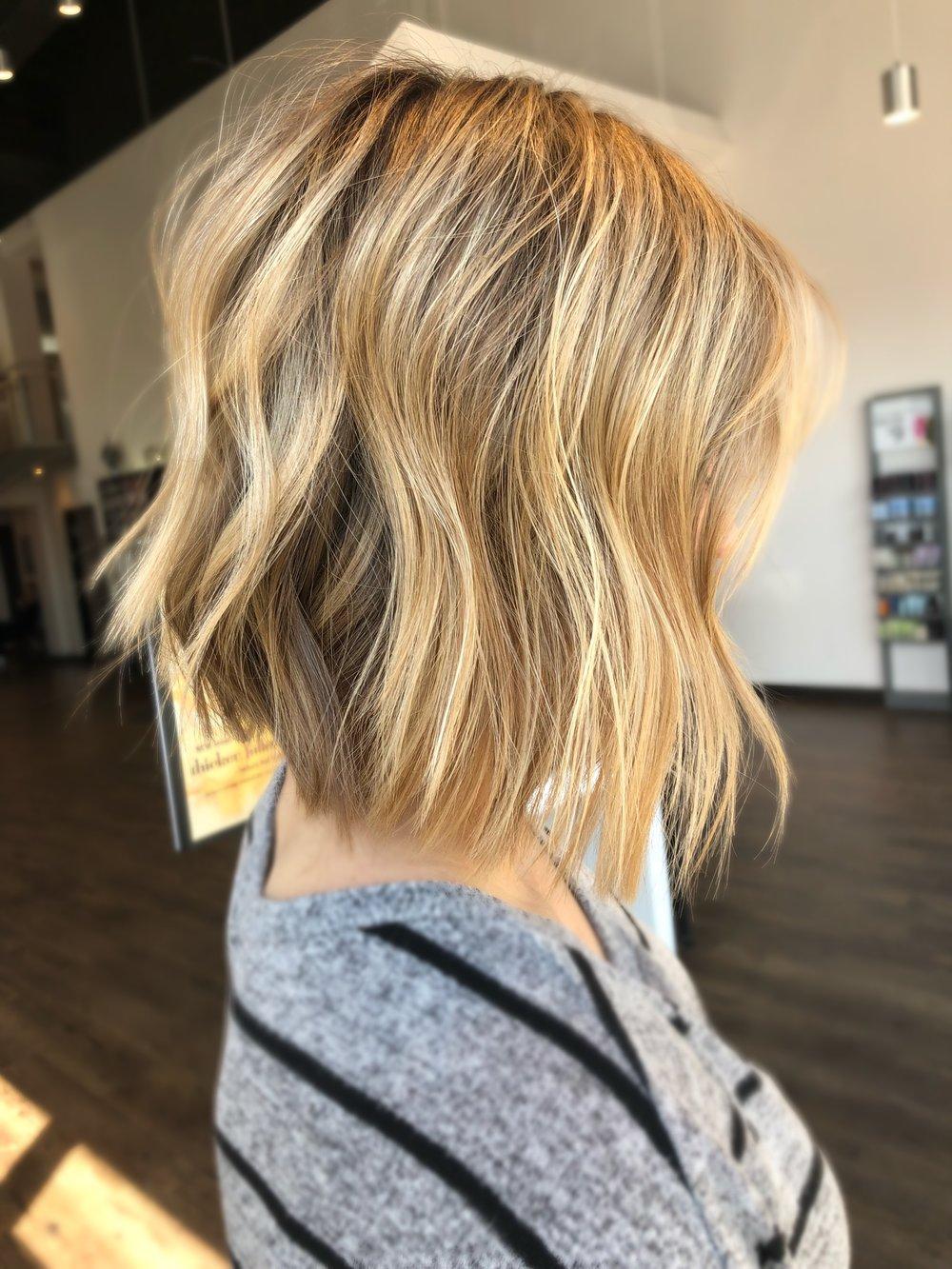 Textured Blonde Bob Haircut Dallas