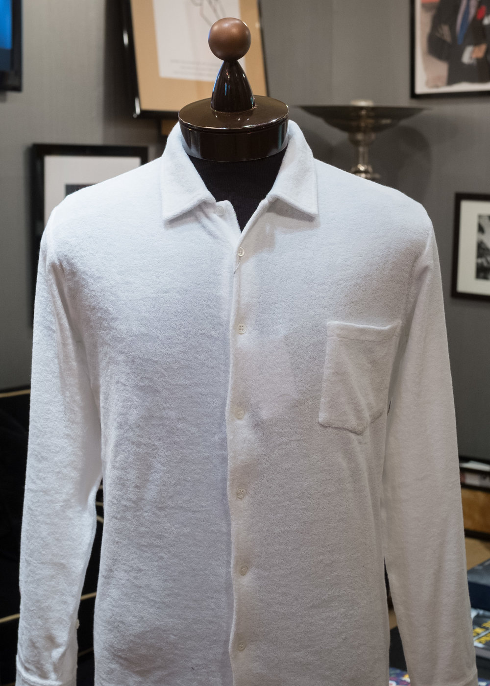 White long-sleeve terrycloth