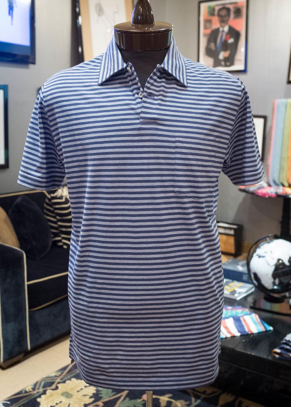 Indigo/grey horizontal striped cotton jersey