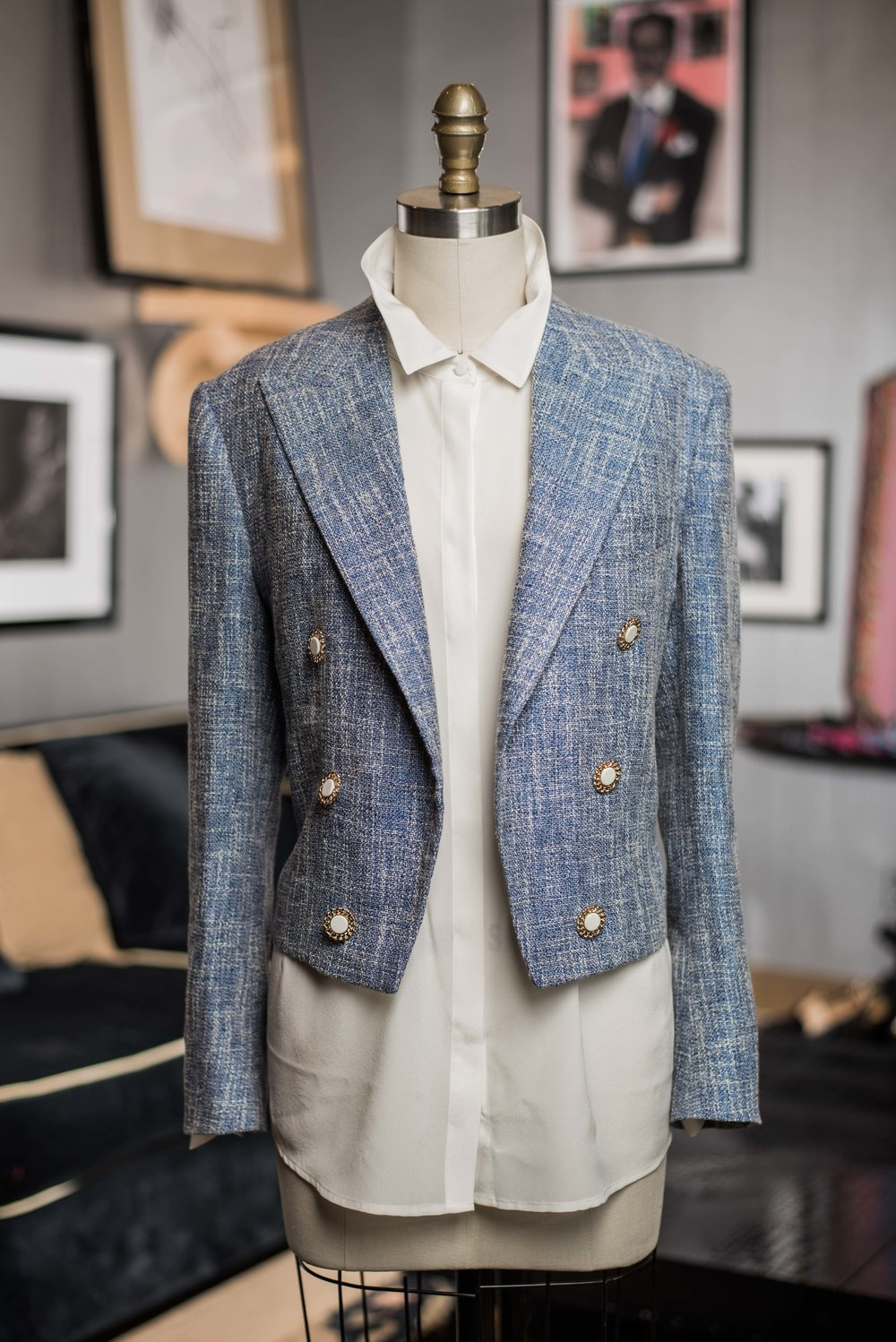 Anchors a-weightless with this silk/linen captain's mess jacket.