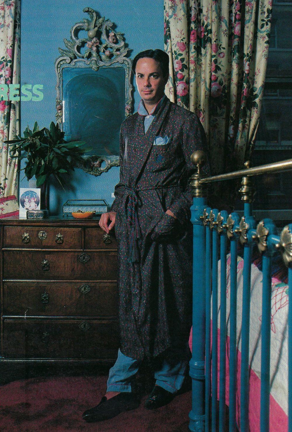 Alan wears an ancient madder silk dressing gown over silk pajamas and velvet slippers in this  boudoir  ensemble. The monogrammed breast pocket carries a pocket square, of course!