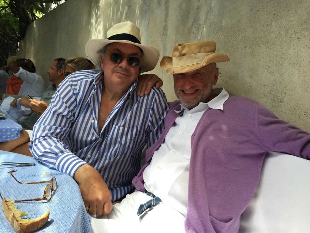 My old friend and one of the best dressed men in the world, Michel Barnes, at his Club 55 table, where he eats at every day he's at his St. Tropez house.