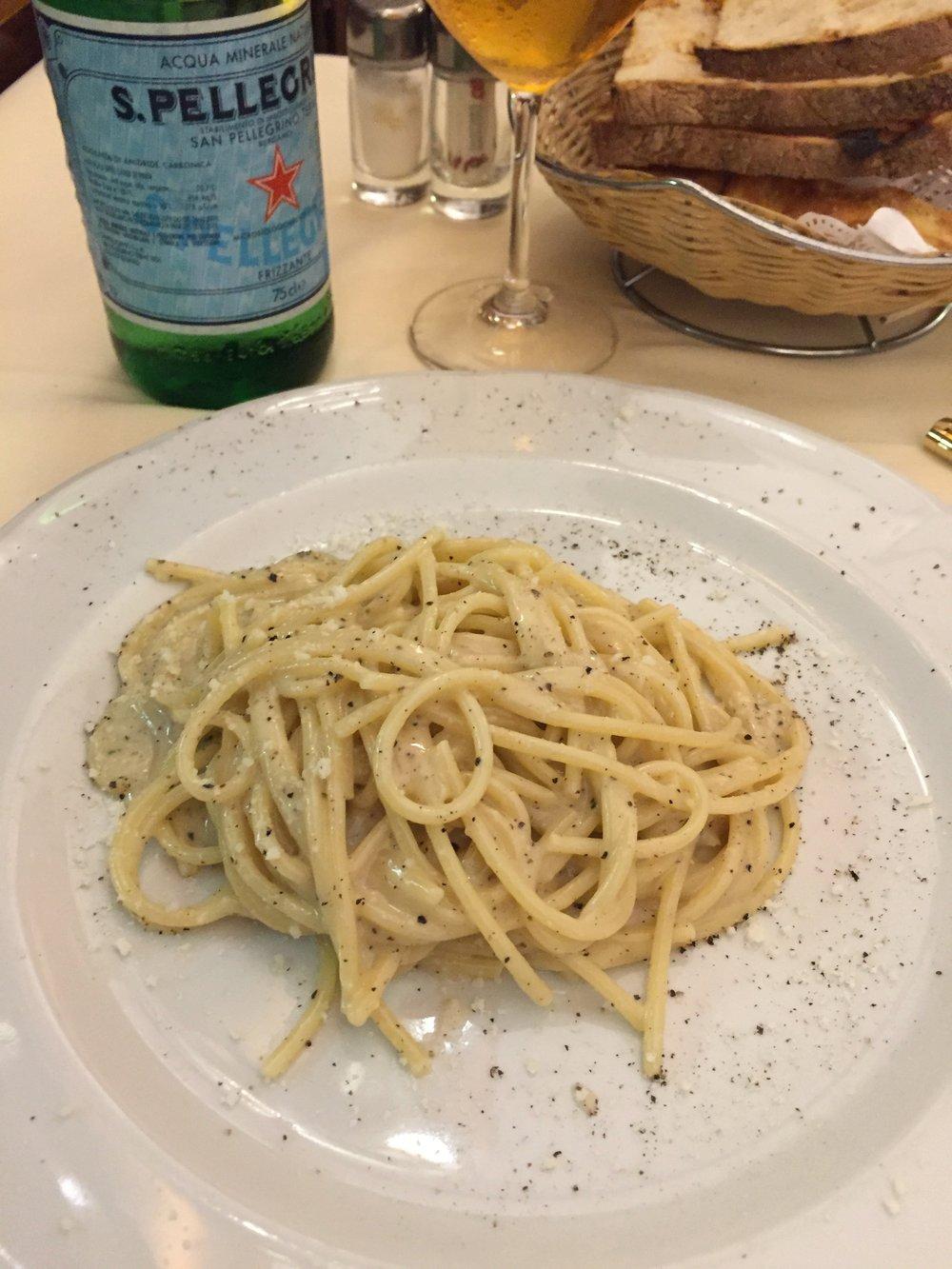 Nino's home-made  cacio e pepe  pasta.