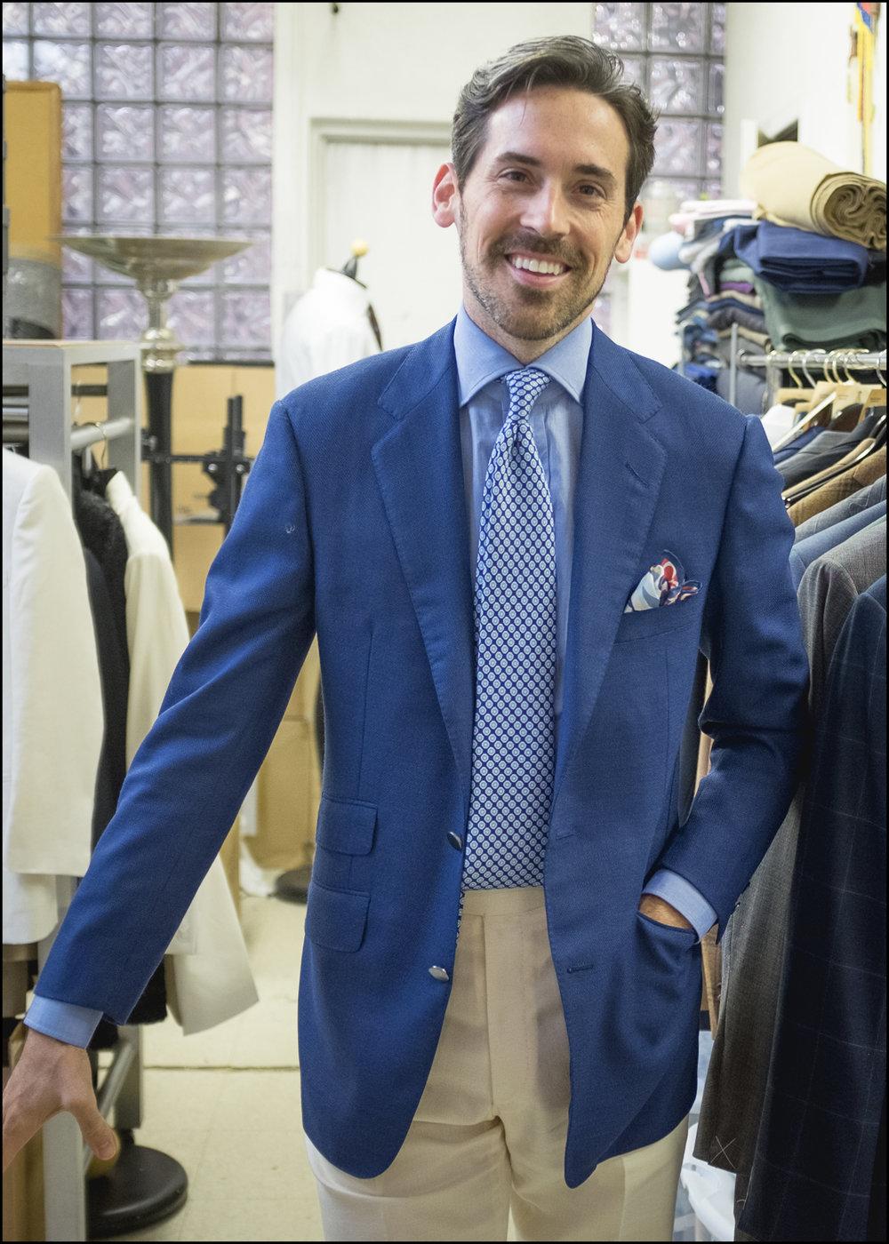 Jonathan wears the three season royal blue 8oz hopsack