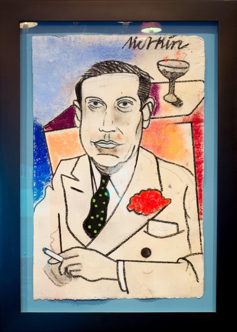 Merkin's portrait of Cole Porter - hanging in Alan's office.