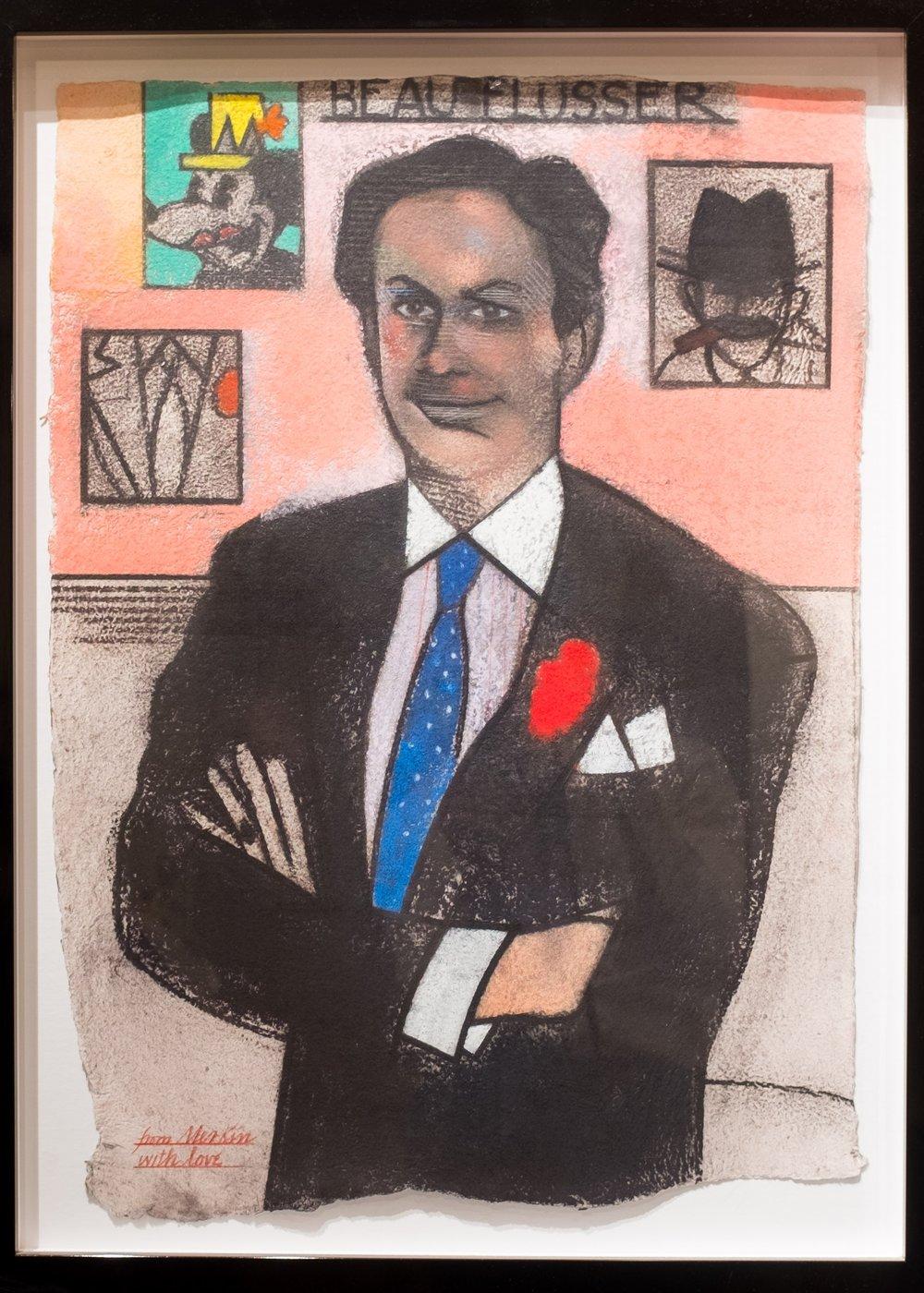 Merkin's portrait of Alan - hanging in the showroom of the custom shop.