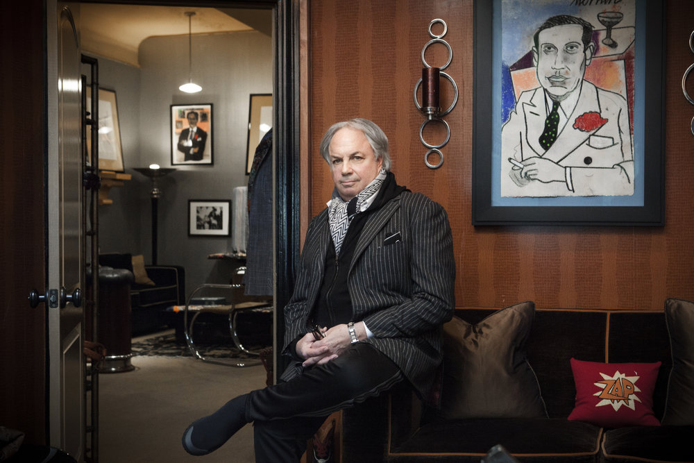 Alan in his office with his Richard Merkin portrait of Cole Porter.