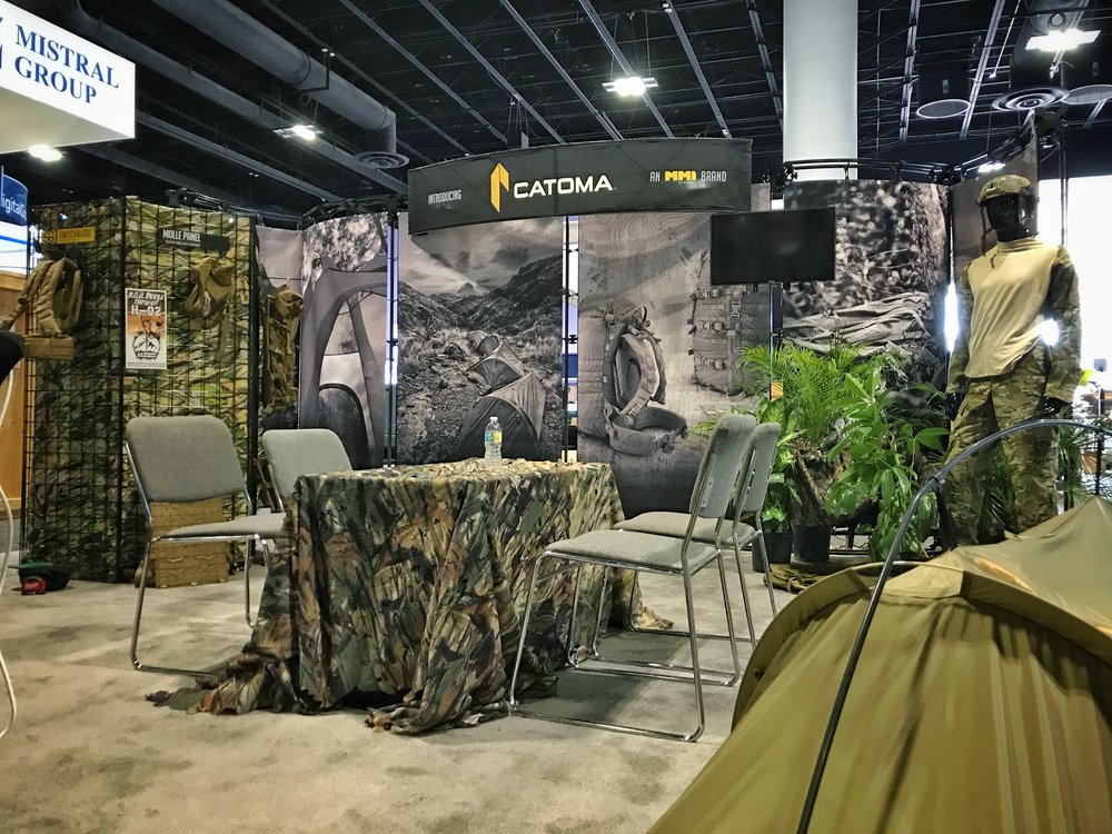 Catoma's booth on the showroom floor. (In process of setup)