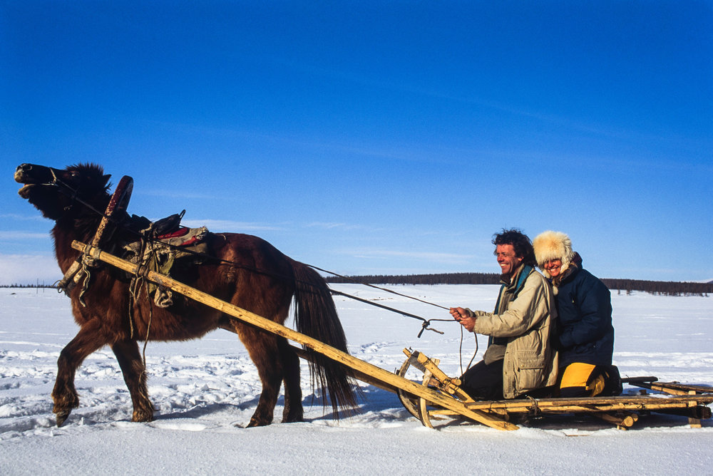 Pete and his wife Renee travelling by sled.