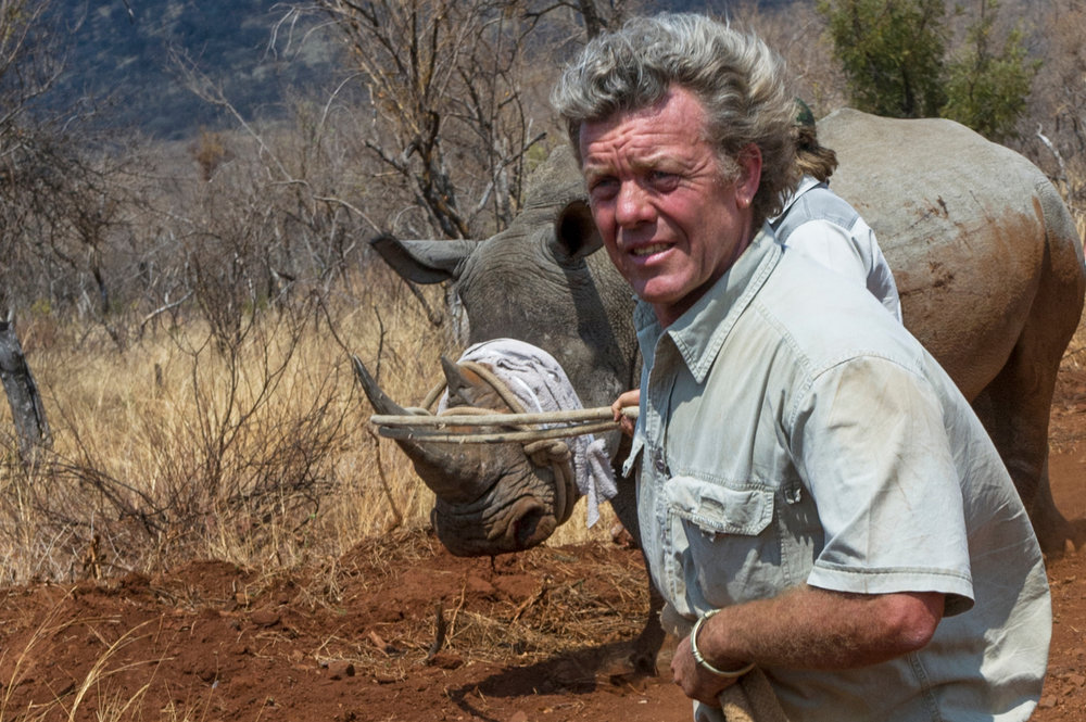Pete guiding a White Rhinocerous