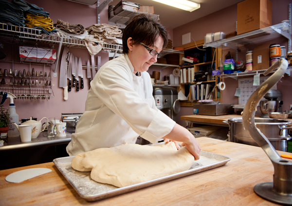 Maria Brennan lays out dough for croissants at The Victorian Bakery.