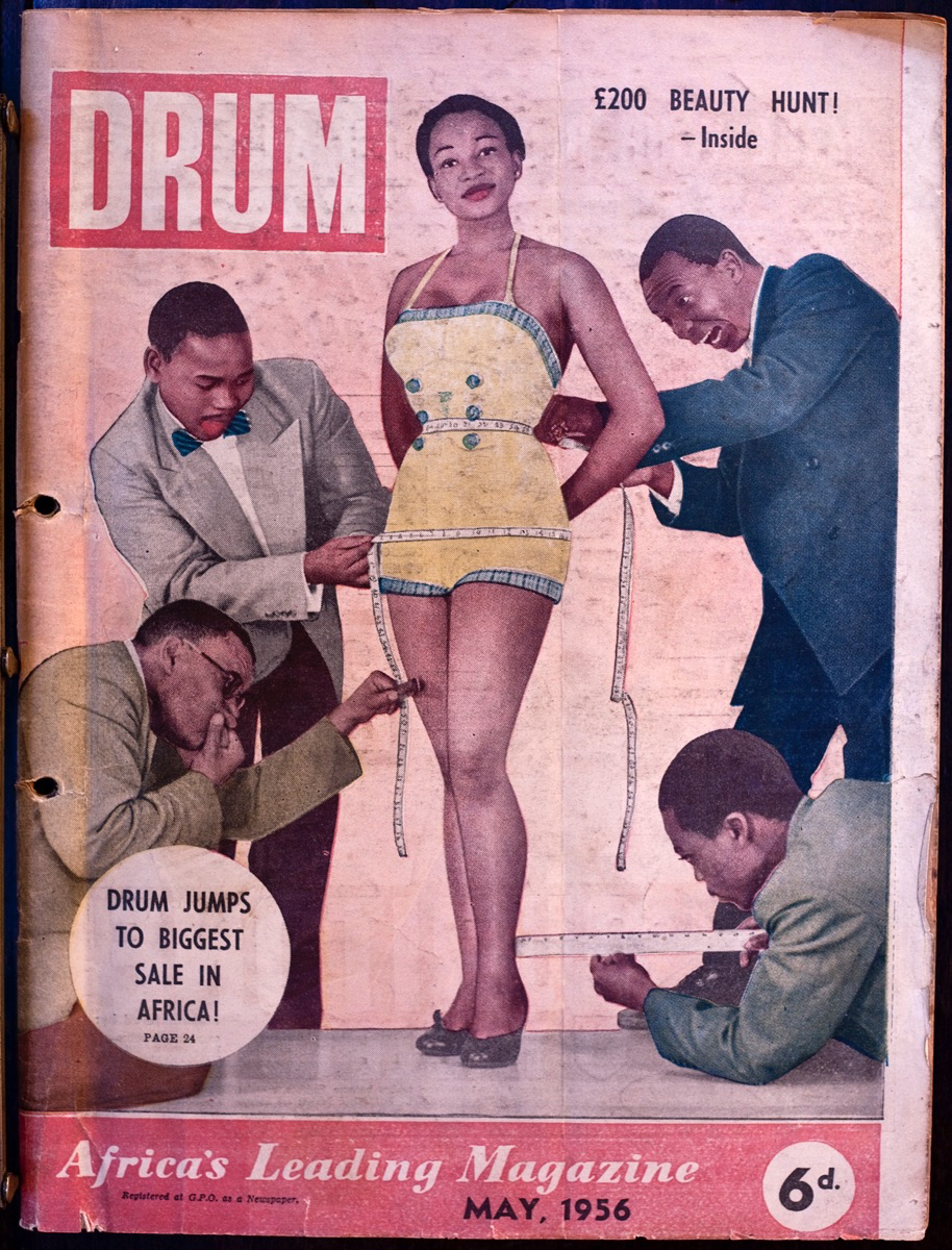 May 1956 cover. Dolly Rathebe being measured up by the DRUM team. She was a star - the girl who invented - and then perfected - emotion. Cover image:  Jurgen Schadeberg