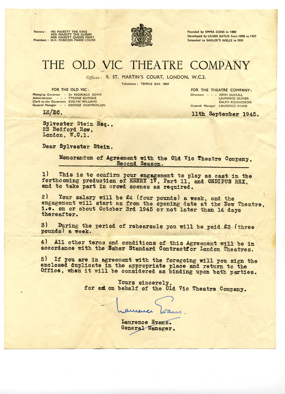 Letter offering employment at the Old Vic Theatre Company