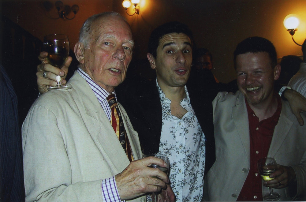- Sylvester with Paul Robinson, director, and Fraser Grace, co-author of the play Who Killed Mr Drum?