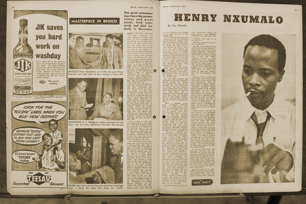 "Henry's obituary written by Can Themba in the February 1957 issue. ""He made DRUM and it made him a daring investigator!"""