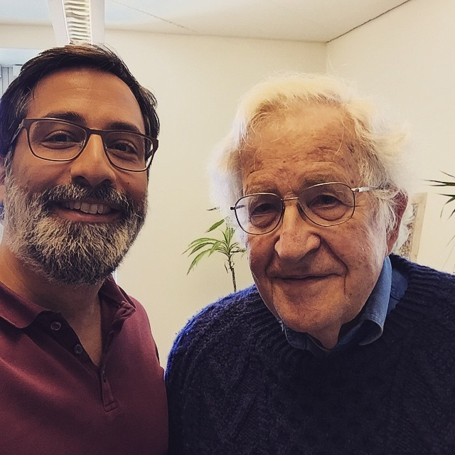 Alex after interviewing Noam Chomsky at MIT, spring 2015