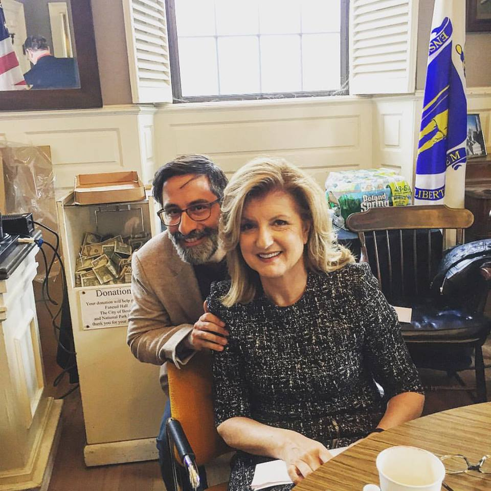 Alexander Görlach and Arianna Huffington backstage an event in Boston in the fall 2015