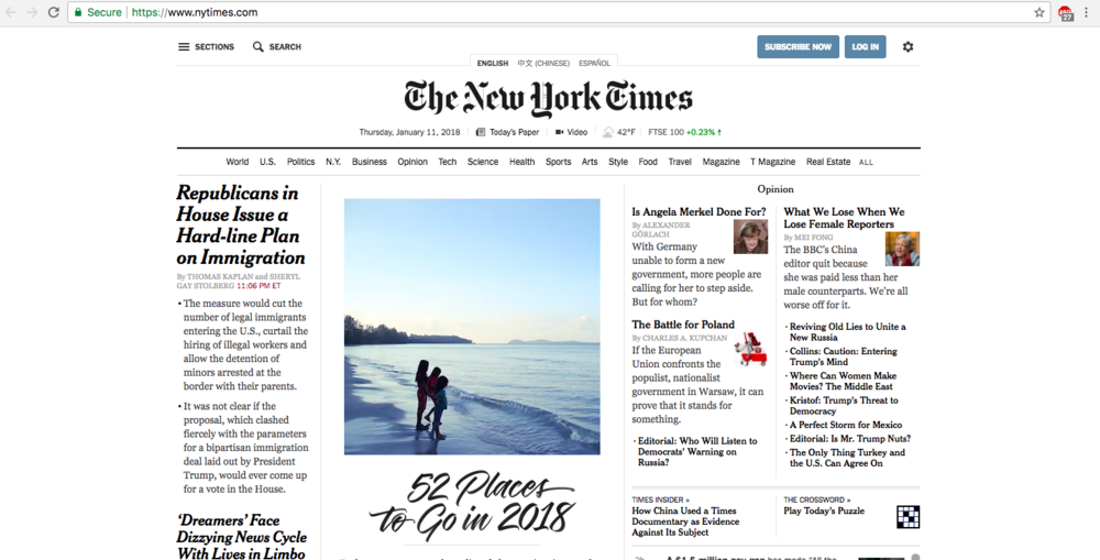 The NYTimes Homepage, displaying Alex' article