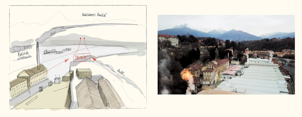 Left: Drone storyboard. Right: Drone footage over Biella.