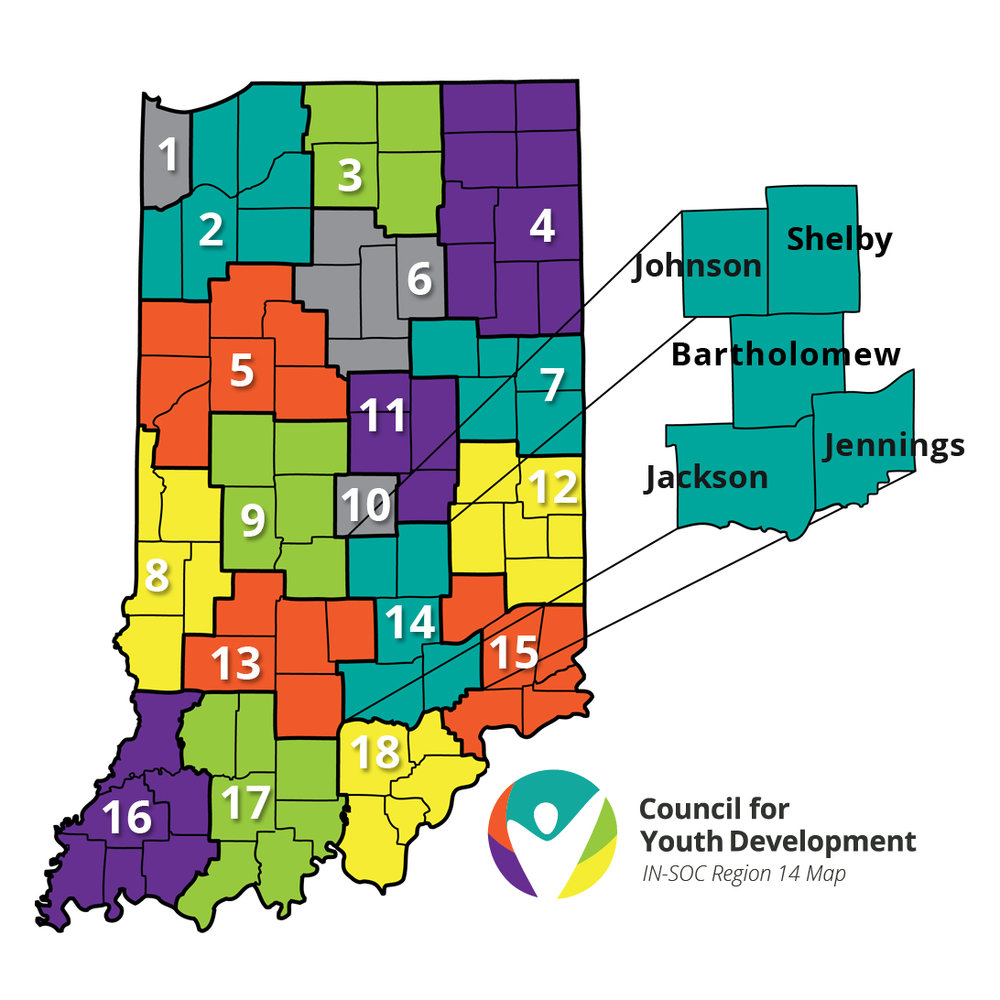 Indiana System of Care Snapshot    SOC Coordination- Bartholomew County    Contact:  Council for Youth Development   Region 14:  Bartholomew, Shelby, Johnson, Jackson, & Jennings   Support and Resources   Training Community Leaders  Providing Grants and Funding  Shared Data and Measurements