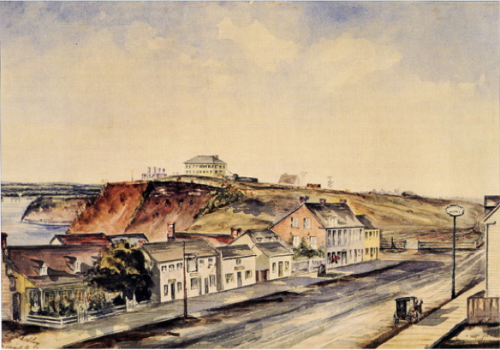 [1853 watercolour of Bytown looking east along Wellington Street near Bank Street. The artist was C. Sedley. Courtesy of Library and Archives Canada]