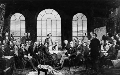 The Fathers of Confederation. The original painting was destroyed in the Centre Block fire of 1916.