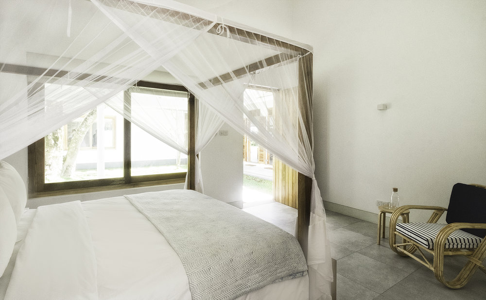 Bedroom 4 with courtyard and ocean views