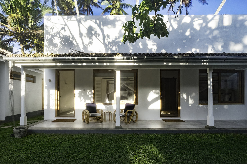 Early morning light on the courtyard bedrooms
