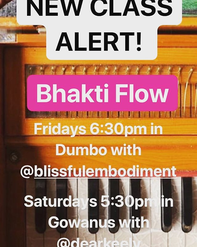 New class alert with @blissfulembodiment and @dearkeely ❤️💛💜💙❤️💛💜💙❤️💛💜💙 tonight we will practice a sweet slow flow and embrace our inner wisdom by chanting to saraswati 🦋🦋 . . . . #goddess #flow #heal #yoga #healer #yogateacher #yogalove #selflove #selfcare #bodylove #bhakti #vinyasa #slowflow #bopo #yogaforall #yogaeverydamnday #dumbo #dumboyoga