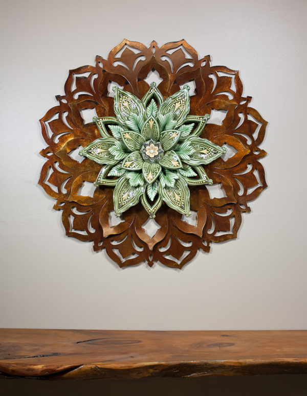 "26"" Brown Patina Steel with 16"" Green Porcelain Flower"