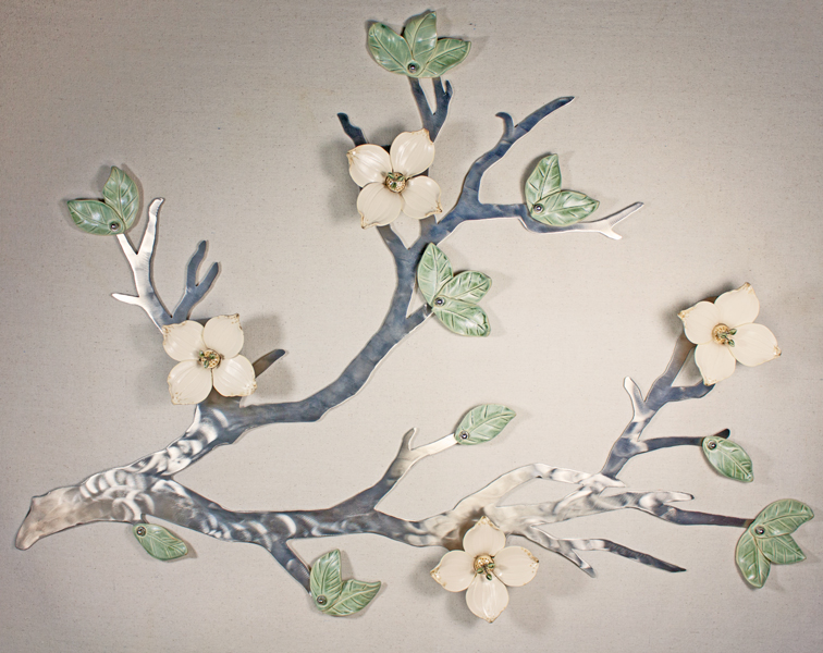 Custom Dogwood flowers with metal stamens on Silver Stainless 3'x2'