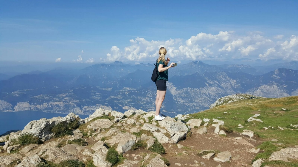 At the summit of Monte Baldo, overlooking Lake Garda.