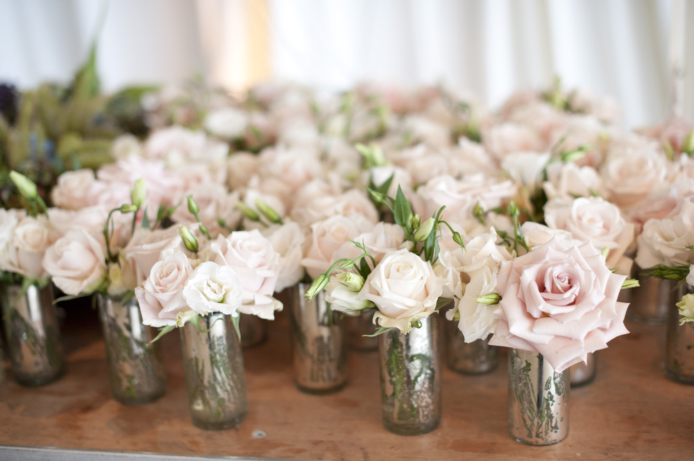 Blush pink roses and mercury glass