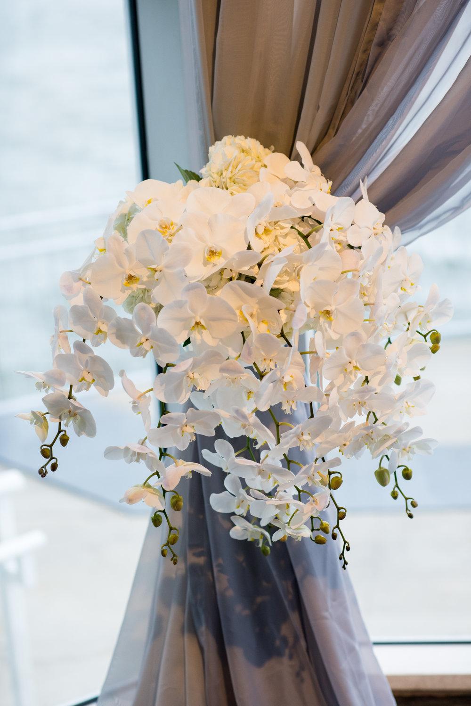 White phaleonopsis tie-back