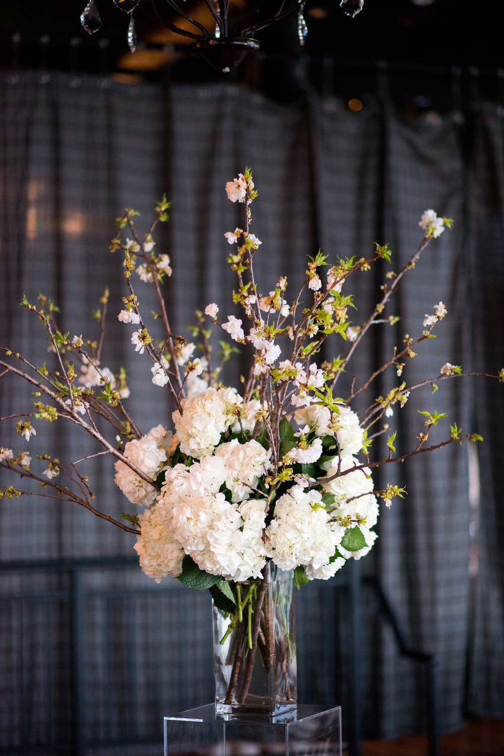 White cherry blossom and hydrangea arrangement