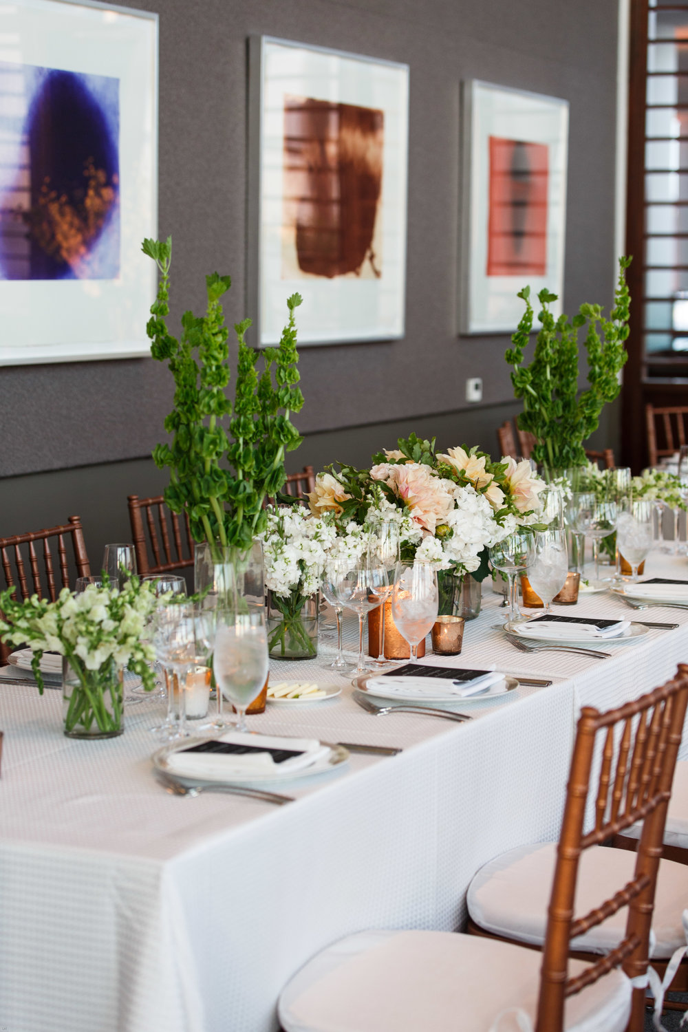 Long table centerpiece with dahlias