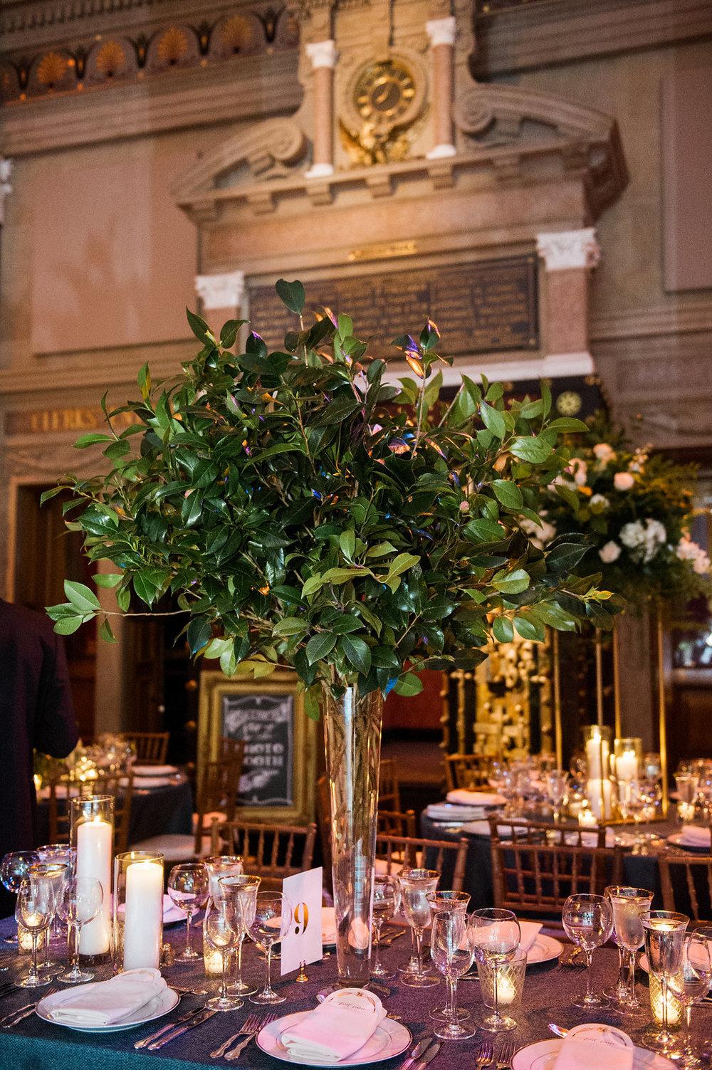 Tall camellia centerpiece